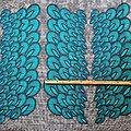 Pagne - Wax 100% coton - Paon - Turquoise / Bleu / Blanc