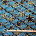 Coupon de tissu - Wax 100% coton - Wax 100% coton - Etoiles - Bleu / Vert / Noir