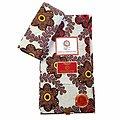 Coupon de tissu - Wax 100% coton - Fleurs - Marron / Jaune / Rouge