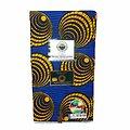 Coupon de tissu - Wax 100% coton - Spirales - Jaune / Bleu / Noir