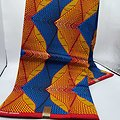 Pagne - Wax - Graphiques - Orange / Bleu / Rouge