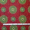 Coupon de tissu - Wax 100% coton - Ronds - Jaune / Orange / Noir