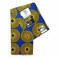 Coupon de tissu - Wax 100% coton - Ronds - Jaune / Bleu / Noir