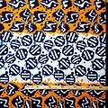Pagne - Wax 100% coton - Graphiques - Violet / Orange / Blanc