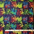 Coupon de tissu - Wax 100% coton - Feuilles - Vert / Bleu / Orange