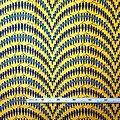 Coupon de tissu- Wax 100% coton - Graphiques - Jaune / Turquoise / Noir