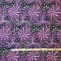 Pagne - Wax 100% coton - Fleurs - Mauve / Rose / Vert