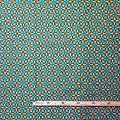 Coupon de tissu - Wax 100% coton - Rosaces - Jaune / Vert / Bleu