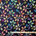 Pagne - Wax 100% coton - Feuilles - Jaune / Violet / Bleu