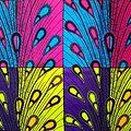 Pagne - Wax 100% coton - Pétales - Bleu / Rose / Jaune