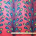 Coupon de tissu - Wax 100% coton - Pétales - Rose - Turquoise - Jaune