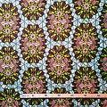 Coupon de tissu - Wax 100% coton - Graphiques - Vert / Marron / Saumon