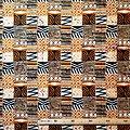 Coupon de tissu - Wax 100% coton - Graphiques - Ocre / Noir / Blanc