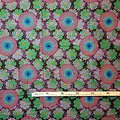 Coupon de tissu - Wax 100% coton - Fleurs - Rose - Bleu - Mauve