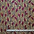 Coupon de tissu - Wax 100% coton - Fleurs - Rouge / Ocre / Noir