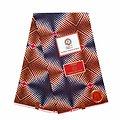 Pagne - Wax 100% coton - Graphiques - Bleu / Rouge / Marron