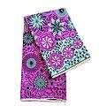 Pagne - Wax 100% coton - Fleurs - Violet / Turquoise / Noir
