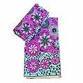 Coupon de tissu - Wax 100% coton - Fleurs - Violet / Turquoise / Noir