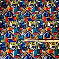 Coupon de tissu - Wax 100% coton - Graphiques - Multi-couleurs