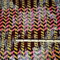Coupon de tissu - Wax 100% coton - Graphiques - Brun / Marron / Rose
