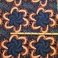 Coupon de tissu - Graphiques - Wax 100% coton - Bleu / Marron / Saumon