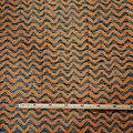 Pagne - Wax 100% coton - Vagues - Orange / Bleu / Blanc