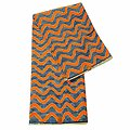 Coupon de tissu - Wax 100% coton - Vagues - Orange / Bleu / Blanc