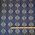 Coupon de tissu - Wax 100% coton - Graphiques - Bleu / Jaune / Blanc