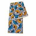 Coupon de tissu - Wax 100% coton - Fleurs - Turquoise / Jaune / Blanc