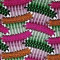 Coupon de tissu - Wax 100% coton - Graphiques - Orange / Rose / Vert