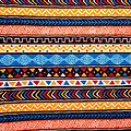 Pagne - Wax 100% coton - Graphiques - Bleu / Rouge / Orange