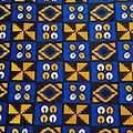 Coupon de tissu - Wax 100% coton - Graphiques - Bleu / Jaune / Noir