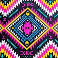 Coupon de tissu - Wax 100% coton - Graphiques - Rose / Turquoise / Jaune