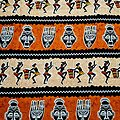 Coupon de tissu - Wax 100% Coton - Danse de la joie - Terracotta / Beige / Noir
