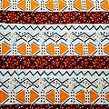 Pagne - Wax 100% coton - Graphiques - Orange / Marron / Noir