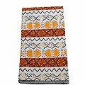 Coupon de tissu - Wax 100% coton - Graphiques - Orange / Marron / Noir