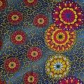 Coupon de tissu - Wax 100% coton - Graphiques - Bleu / Jaune / Rouge
