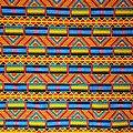 Pagne - Wax 100% coton - Graphiques - Bleu / Orange / Jaune