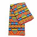 Coupon de tissu - Wax 100% coton - Graphiques - Bleu / Orange / Jaune