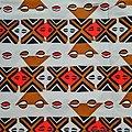 Coupon de tissu - Wax 100% coton - Graphiques - Rouge / Marron / Noir