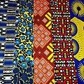 Wax 100% coton - Lot N°31 - 5 coupons de 50cm / 1m20