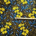 Pagne - Wax 100% coton - Fleurs - Bleu / Jaune / Kaki