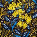 Coupon de tissu - Wax 100% coton - Fleurs - Bleu / Jaune / Kaki