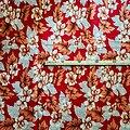 Coupon de tissu - Wax 100% coton - Indie- Rouge / Saumon / Noir