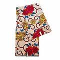 Coupon de tissu - Wax 100% coton - Fleurs - Rouge / Jaune / Bleu
