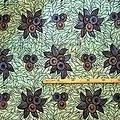 Pagne - Wax 100% coton - Fleurs - Bleu / Brun / Turquoise