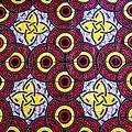 Coupon de tissu - Wax 100 coton - Ronds - Rose / Jaune / Mauve