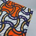 Coupon de tissu - Wax - Graphiques - Orange / Bleu / Ocre