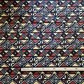 Coupon de tissu - Wax 100% coton - Bogolan - Ocre / Marron / Noir