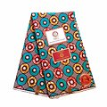 Coupon de tissu - Wax 100% coton - Ronds - Turquoise / Rouge / Ocre